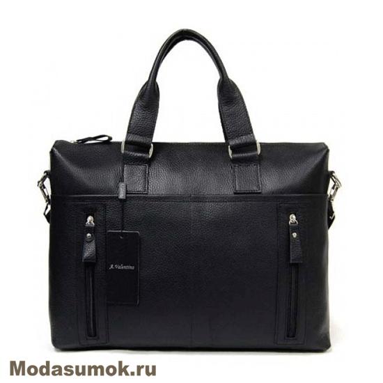 e7a18217fbc6 Сумка - портфель мужская из натуральной кожи A.Valentino 363 черная ...